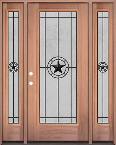 Full Lite Mahogany Wood Door Unit with Sidelites #3077