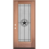 Full Lite Mahogany Wood Door Prehung Door Unit #3077