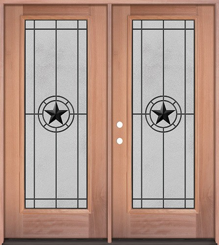 Full Lite Mahogany Wood Double Door Unit #3077
