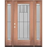 Full Lite Mahogany Wood Door Unit with Sidelites #3078
