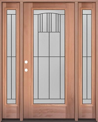 Full Lite Mahogany Wood Door Unit with Sidelites #3078