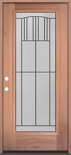 Full Lite Mahogany Wood Door Prehung Door Unit #3078