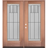 Full Lite Mahogany Wood Double Door Unit #3078