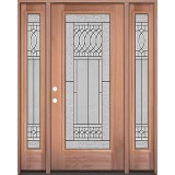 Full Lite Mahogany Wood Door Unit with Sidelites #3079