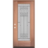 Full Lite Mahogany Wood Door Prehung Door Unit #3079