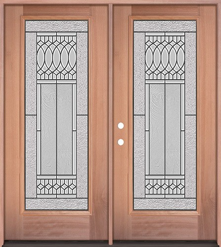 Full Lite Mahogany Wood Double Door Unit #3079