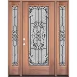 Full Lite Mahogany Wood Door Unit with Sidelites #3080