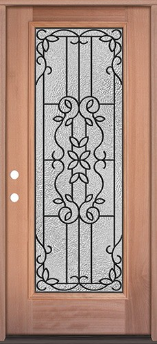 Full Lite Mahogany Wood Door Prehung Door Unit #3080