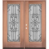 Full Lite Mahogany Wood Double Door Unit #3080