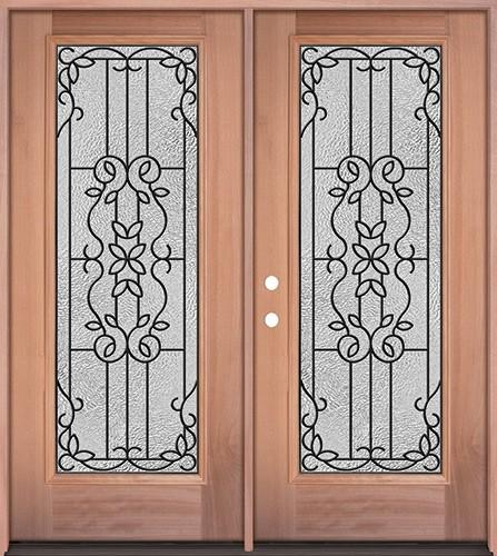 Full Lite Mahogany Wood Double Door Unit #3080