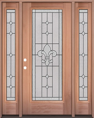 Full Lite Mahogany Wood Door Unit with Sidelites #3081