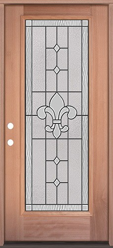 Full Lite Mahogany Wood Door Prehung Door Unit #3081