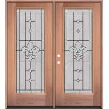 Full Lite Mahogany Wood Double Door Unit #3081