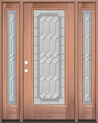 Full Lite Mahogany Wood Door Unit with Sidelites #3082