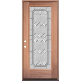 Full Lite Mahogany Wood Door Prehung Door Unit #3082