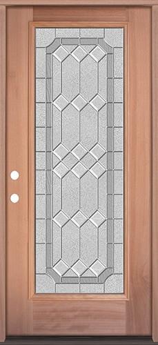 Full Lite Mahogany Wood Door Prehung Door Unit #3082