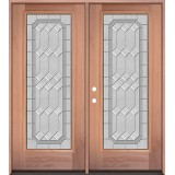 Full Lite Mahogany Wood Double Door Unit #3082