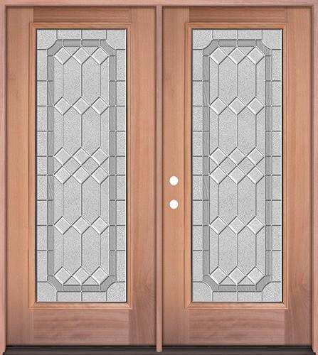 Full Lite Mahogany Wood Double Door Unit #3082
