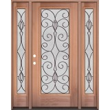 Full Lite Mahogany Wood Door Unit with Sidelites #3083