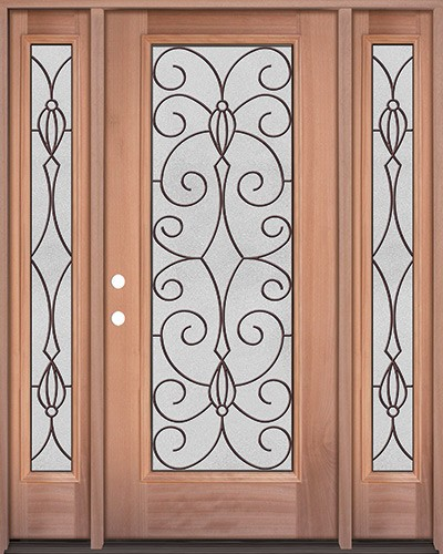 Full Lite Mahogany Wood Door Unit with Sidelites #3083
