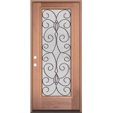 Full Lite Mahogany Wood Door Prehung Door Unit #3083