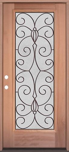 Full Lite Mahogany Wood Door Prehung Door Unit #3083