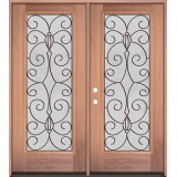 Full Lite Mahogany Wood Double Door Unit #3083
