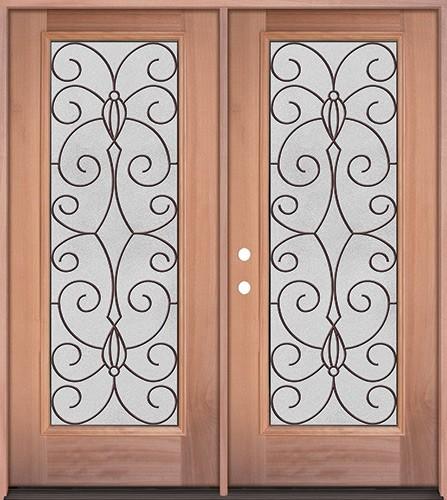 Full Lite Mahogany Wood Double Door Unit #3083