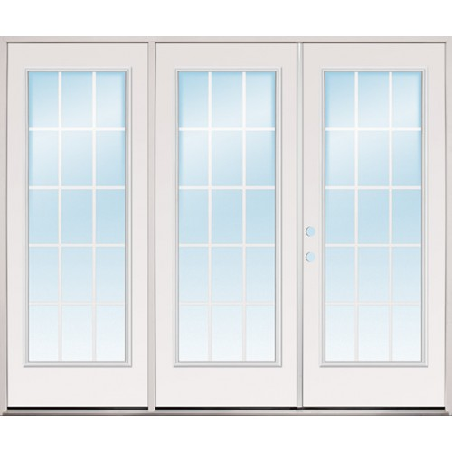 "8'0"" Wide 15-Lite GBG Fiberglass Patio Prehung Triple Door Unit"