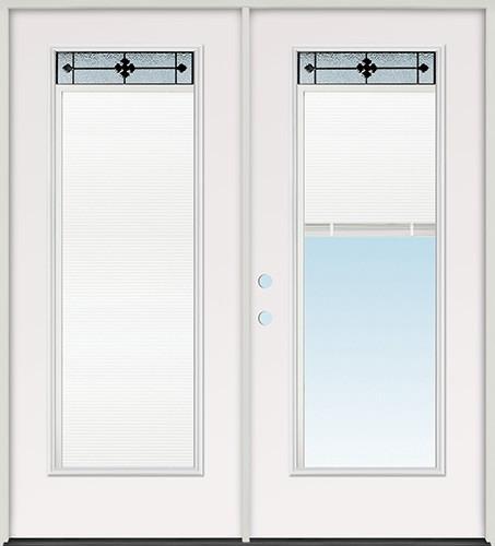 Miniblind with Iberia Iron Glass Fiberglass Patio Prehung Double Door Unit