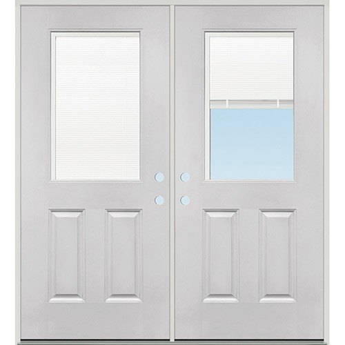 Miniblind Half Lite Fiberglass Patio Prehung Double Door Unit
