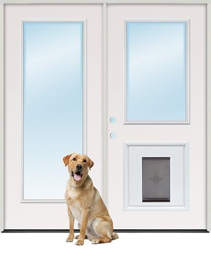 Full Lite/Half Lite Fiberglass Patio Prehung Double Door Unit with Pet Door Insert