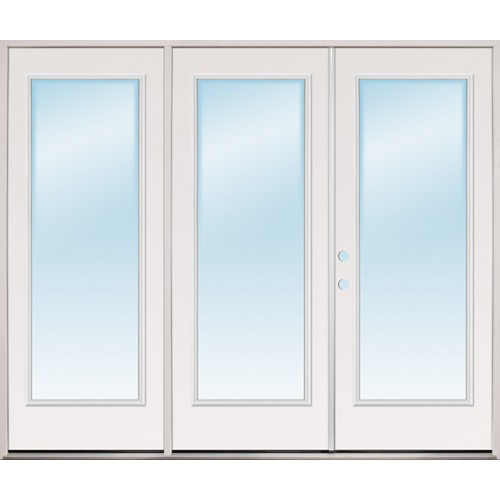 "8'0"" Wide Full Lite Fiberglass Patio Prehung Triple Door Unit"