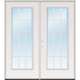 15-Lite Fiberglass Patio Prehung Double Door Unit