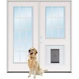 15-Lite/9-Lite Fiberglass Patio Prehung Double Door Unit with Pet Door Insert