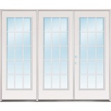 8/0 Wide Retro 15-Lite Fiberglass Patio Prehung Triple Door Unit