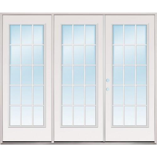 "8'0"" Wide 15-Lite Fiberglass Patio Prehung Triple Door Unit"