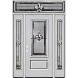 Fleur-de-lis 3/4 Lite Fiberglass Prehung Door Unit with Transom #4019
