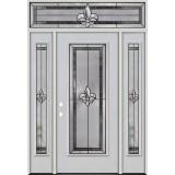 Fleur-de-lis Full Lite Fiberglass Prehung Door Unit with Transom #4036
