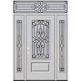 3/4 Lite Fiberglass Prehung Door Unit with Transom #4041