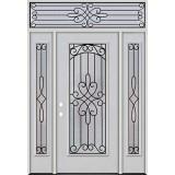 Full Lite Fiberglass Prehung Door Unit with Transom #4045