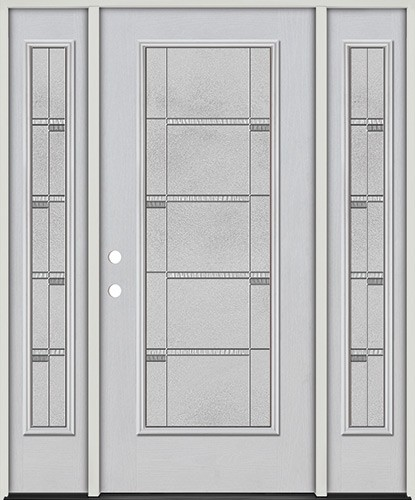 Full Lite Fiberglass Prehung Door Unit with Sidelites #4072