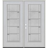 Full Lite Fiberglass Prehung Double Door Unit #4072