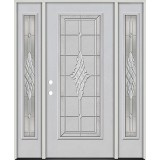 Full Lite Fiberglass Prehung Door Unit with Sidelites #4076