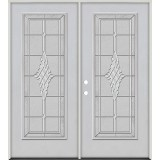 Full Lite Fiberglass Prehung Double Door Unit #4076