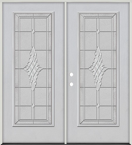 Full Lite Fiberglass Prehung Double Door Unit #4076