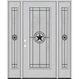 Full Lite Fiberglass Prehung Door Unit with Sidelites #4077