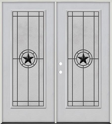 Full Lite Fiberglass Prehung Double Door Unit #4077