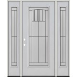 Full Lite Fiberglass Prehung Door Unit with Sidelites #4078