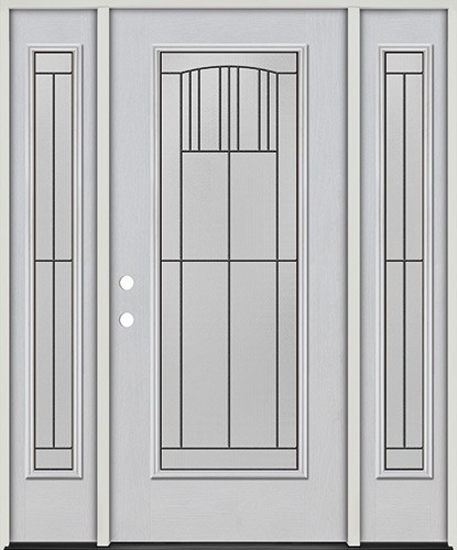 Full Lite Fiberglass Prehung Door Unit with Sidelites #4078